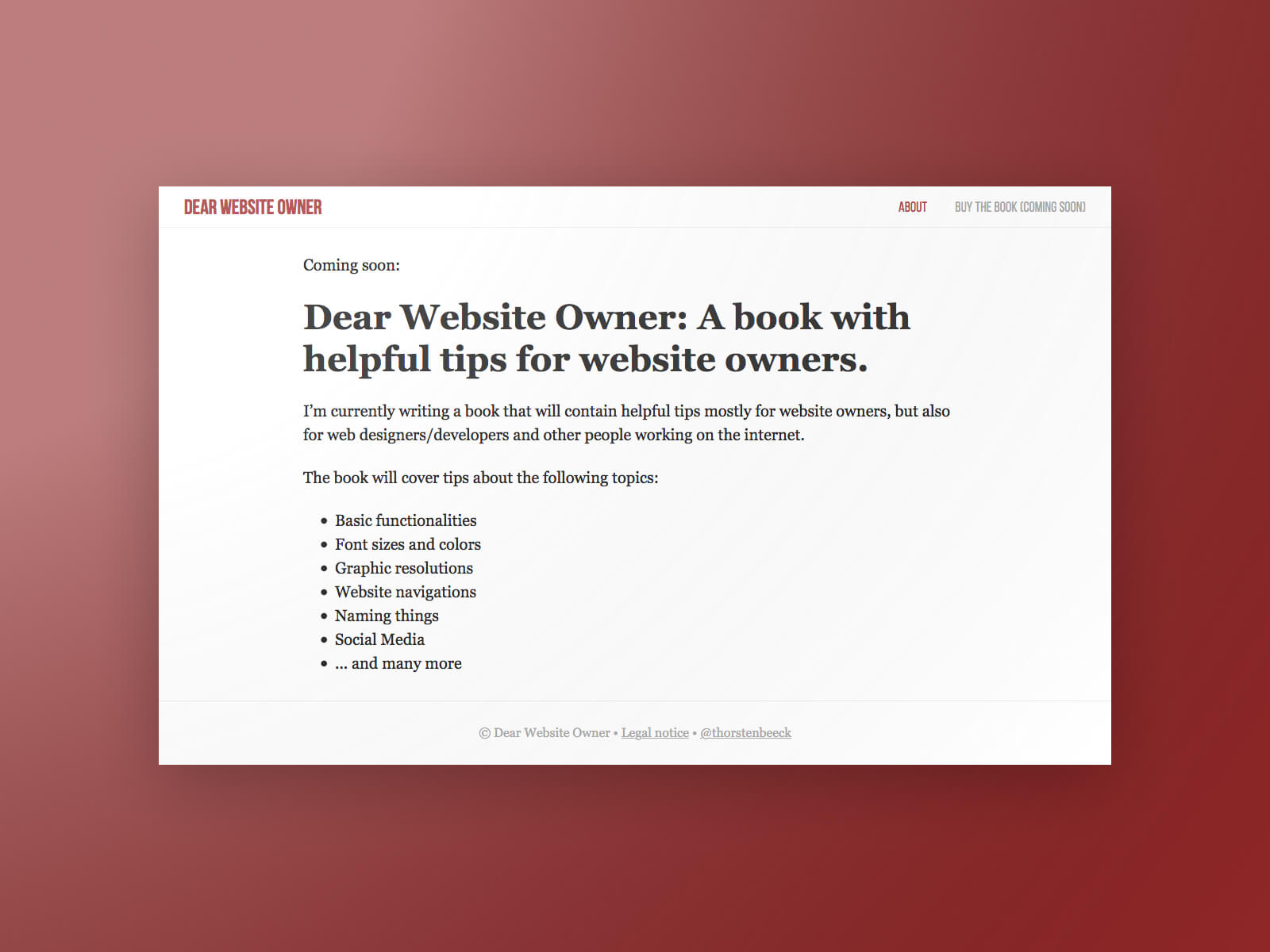 Dear Website Owner