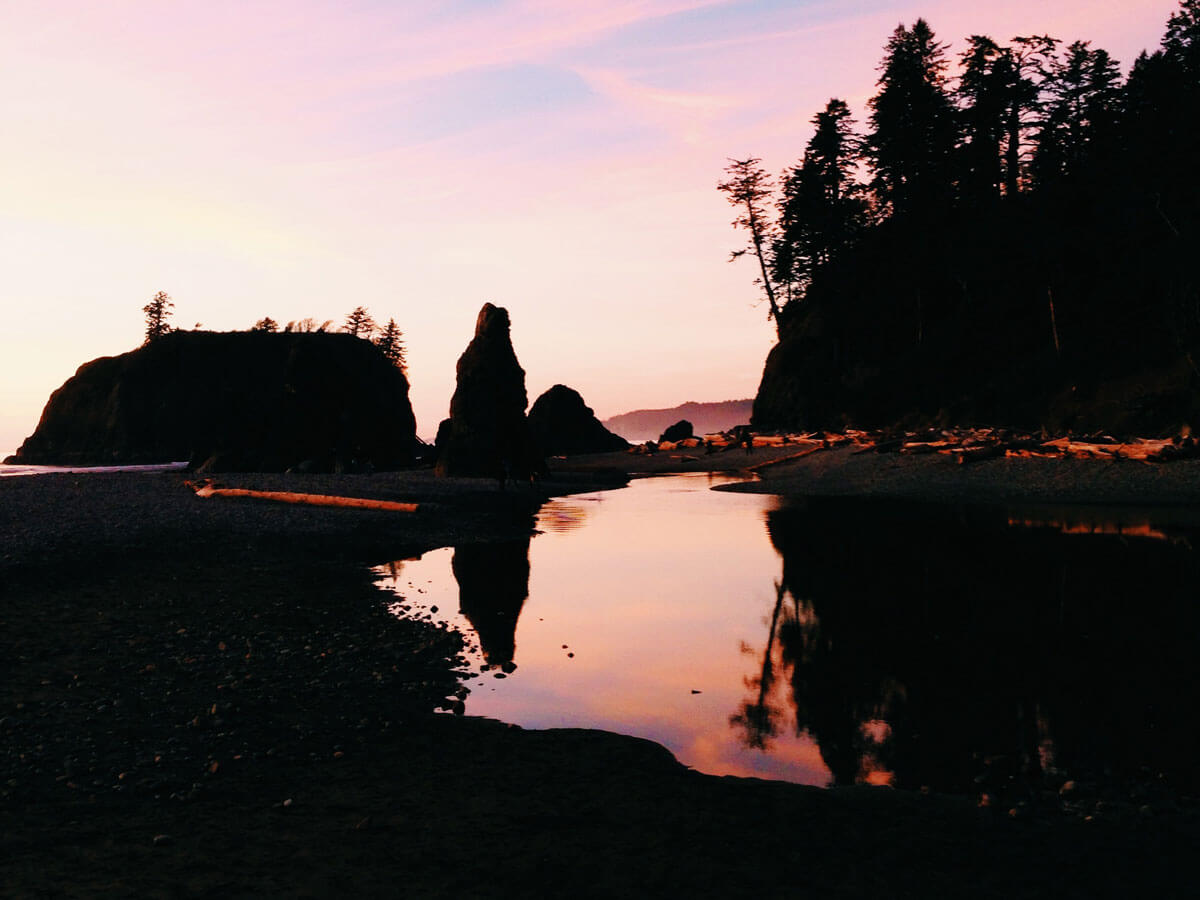 Last light of the day at Ruby Beach